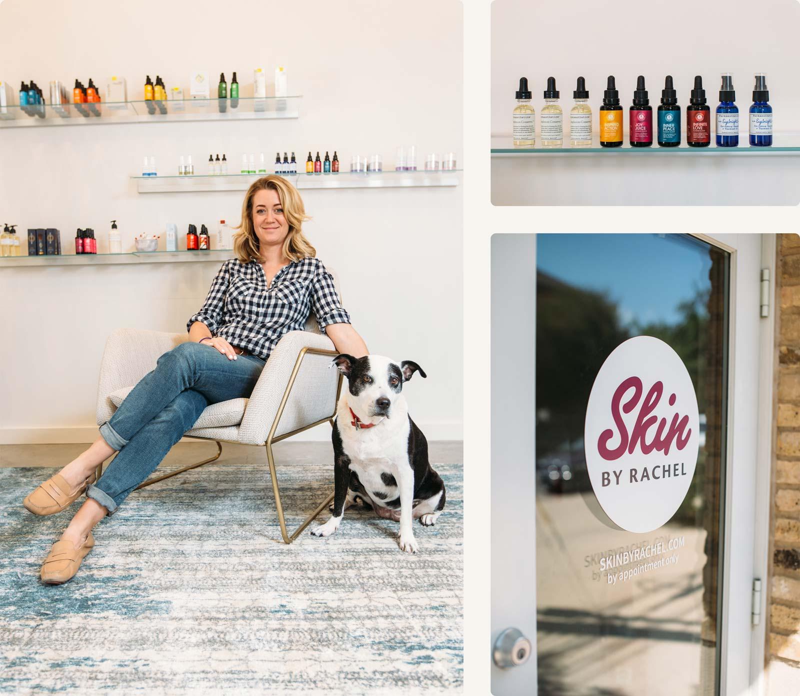 Rachel Spillman of skin by Rachel posing with her dog in the interior of skin by Rachel